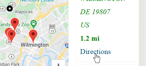 Store locator results with direction instructions.