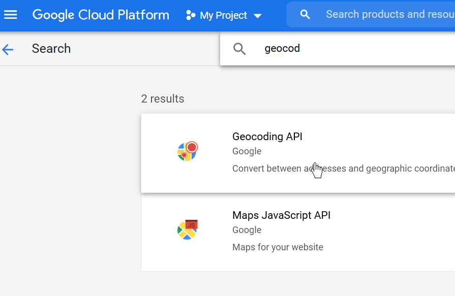 Search for APIs & Services